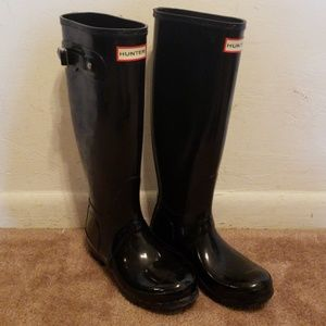 Women's Original Tall Gloss Rain Boots Black 5 F